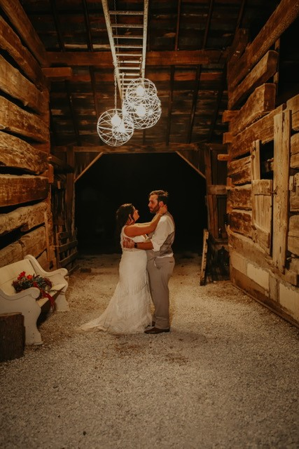 old barn couple dancing