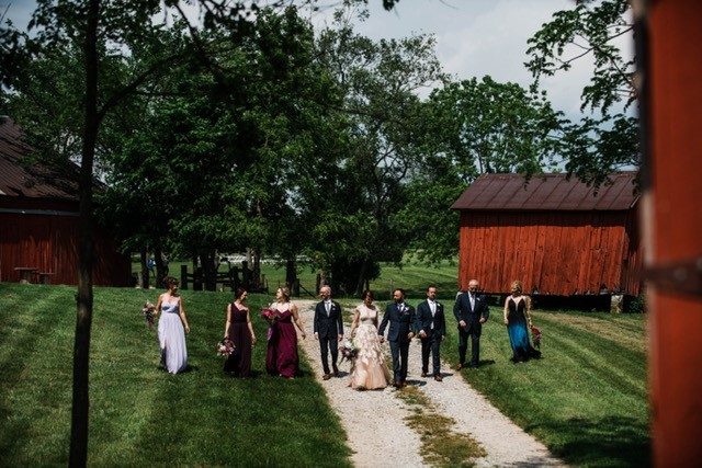 red barns and wedding party