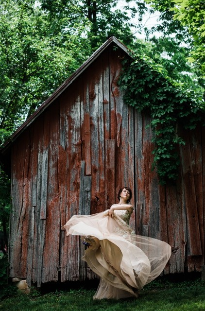 rusted barn with bride